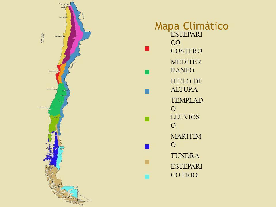Mapa Climático LEYENDA DESERTIC O NORMAL DESIERTO COSTERO DESERTIC O FRIO O DE ALTURA ESTEPARI CO INTERIOR ESTEPARI CO COSTERO MEDITER RANEO HIELO DE ALTURA ESTEPARI CO COSTERO MEDITER RANEO HIELO DE ALTURA TEMPLAD O LLUVIOS O MARITIM O TUNDRA ESTEPARI CO FRIO Fuente: Adaptación desde Santillana.