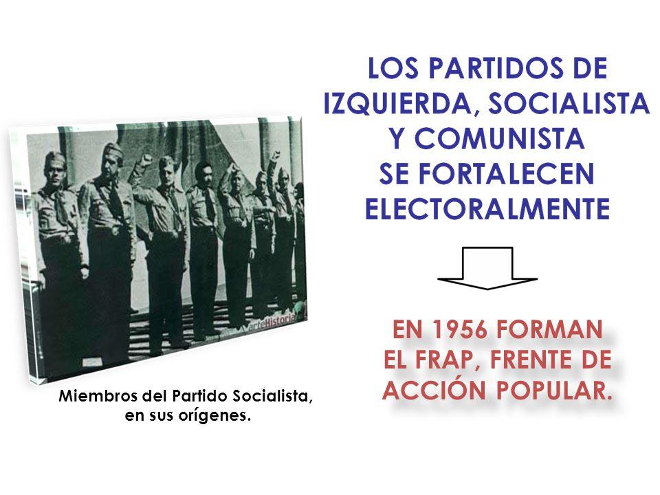 EN 1956 FORMAN EL FRAP, FRENTE DE ACCIÓN POPULAR. Miembros del Partido Socialista, en sus orígenes.