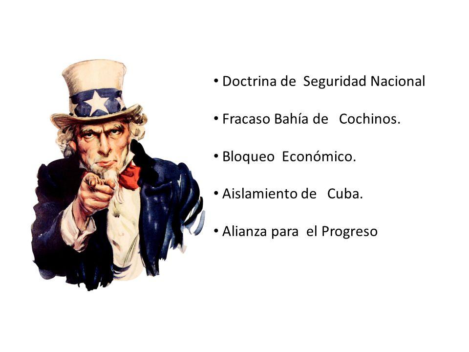 Doctrina de Seguridad Nacional Fracaso Bahía de Cochinos. Bloqueo Económico. Aislamiento de Cuba. Alianza para el Progreso