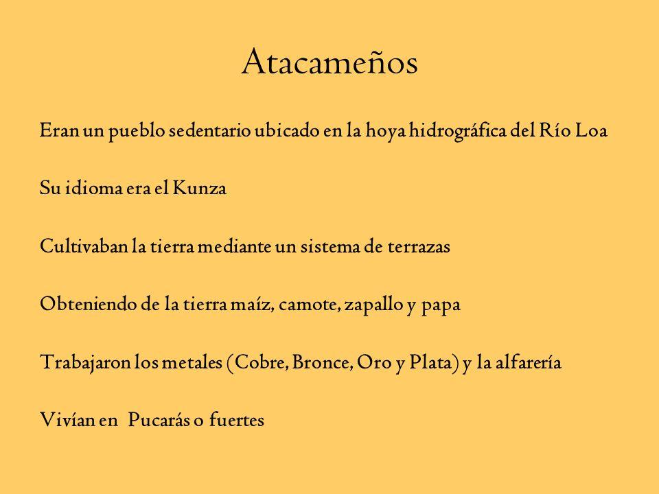 Aymaras Pueblo nómade de la pampa y altiplano nortino Eran cazadores y recolectores Se organizaban en base a Ayllu (familias con un antepasado en comú