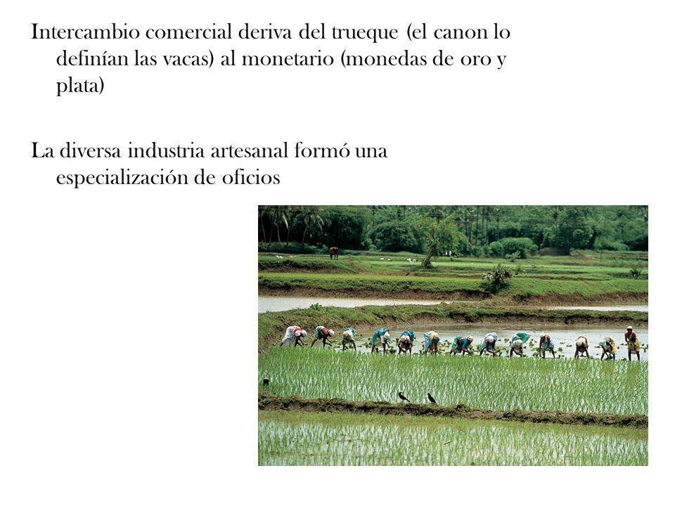 Intercambio comercial deriva del trueque (el canon lo definían las vacas) al monetario (monedas de oro y plata) La diversa industria artesanal formó u