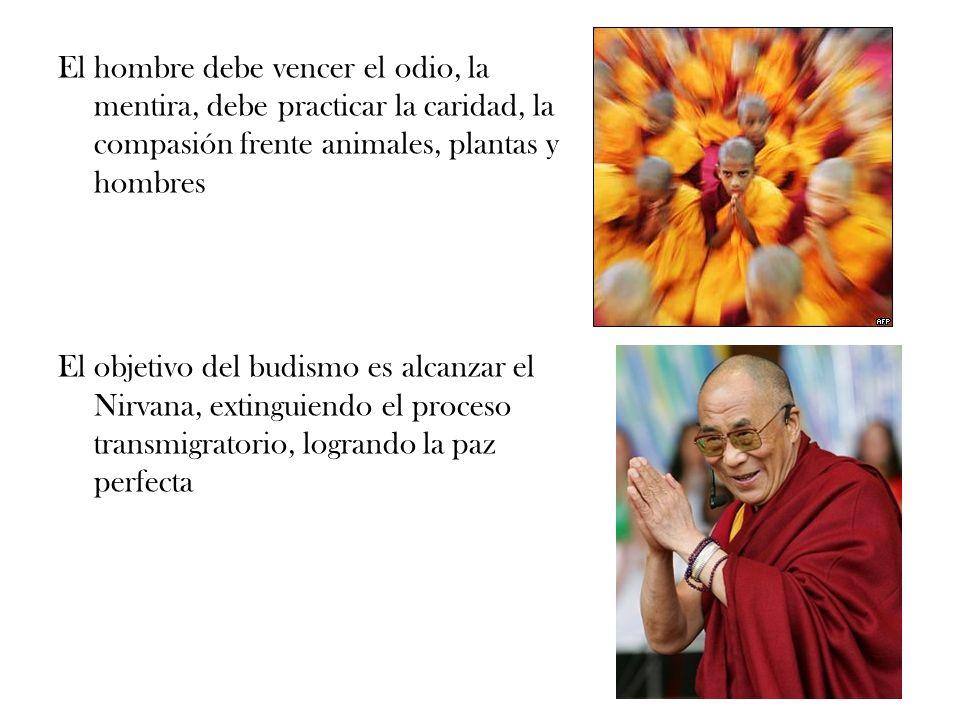 El hombre debe vencer el odio, la mentira, debe practicar la caridad, la compasión frente animales, plantas y hombres El objetivo del budismo es alcan