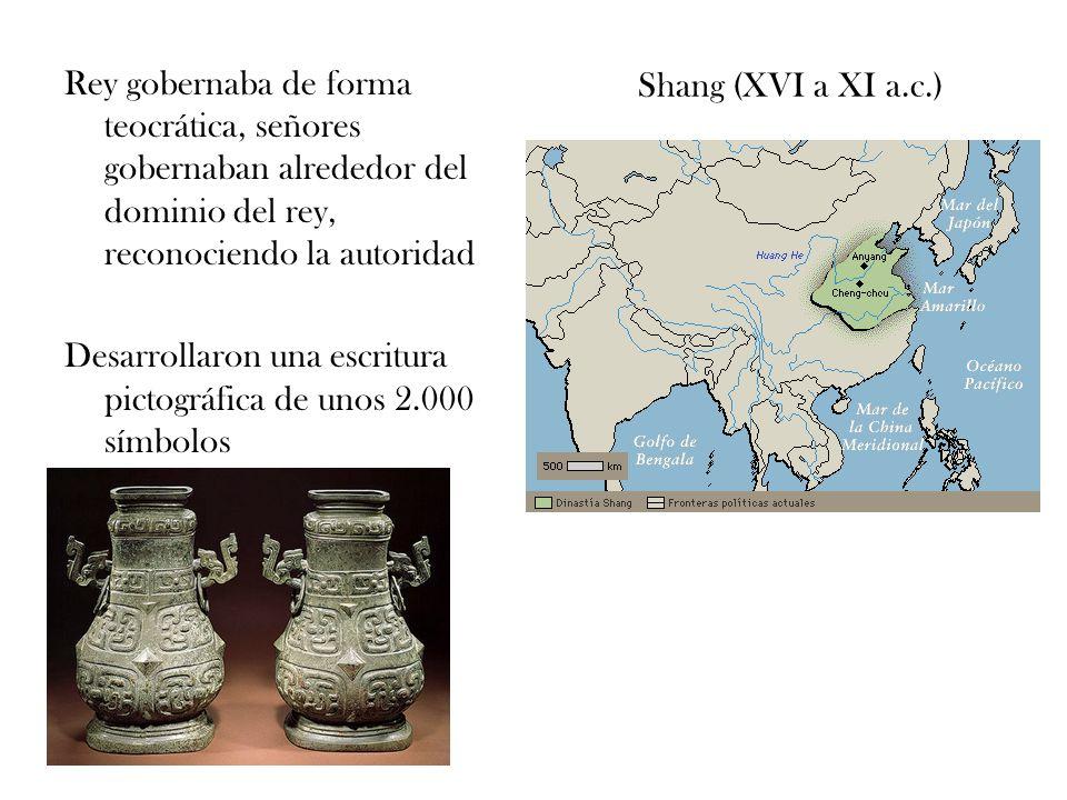 Shang (XVI a XI a.c.) Rey gobernaba de forma teocrática, señores gobernaban alrededor del dominio del rey, reconociendo la autoridad Desarrollaron una