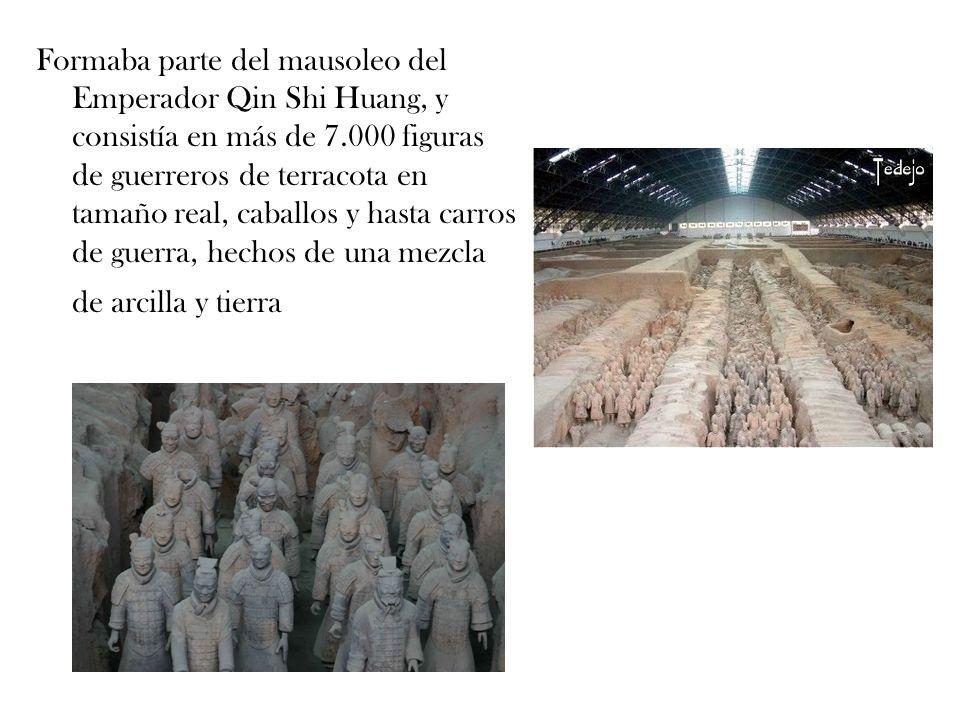 Formaba parte del mausoleo del Emperador Qin Shi Huang, y consistía en más de 7.000 figuras de guerreros de terracota en tamaño real, caballos y hasta