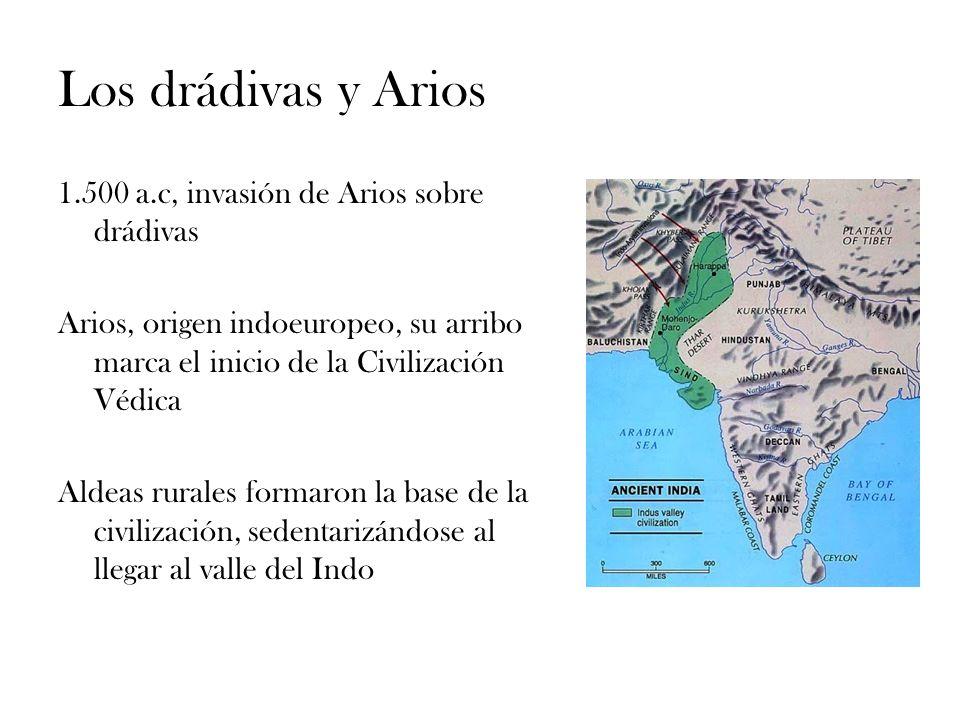 Los drádivas y Arios 1.500 a.c, invasión de Arios sobre drádivas Arios, origen indoeuropeo, su arribo marca el inicio de la Civilización Védica Aldeas
