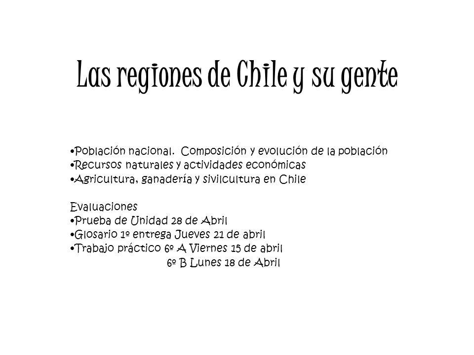 Las regiones de Chile y su gente Población nacional. Composición y evolución de la población Recursos naturales y actividades económicas Agricultura,