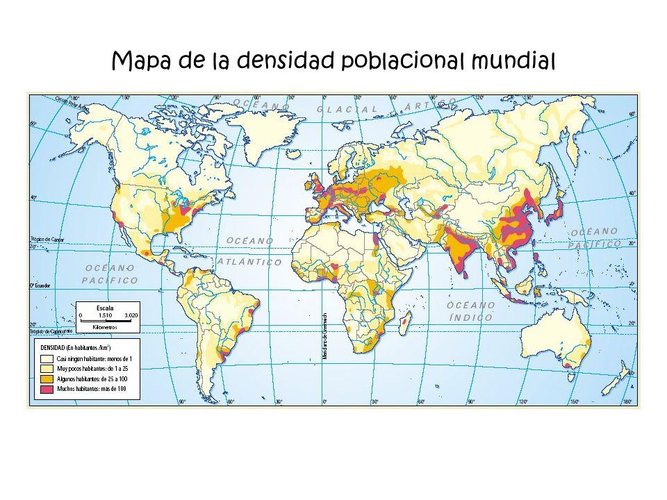 Mapa de la densidad poblacional mundial