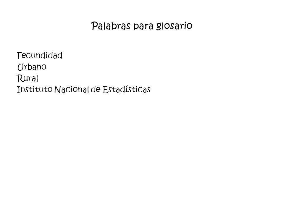 Palabras para glosario Fecundidad Urbano Rural Instituto Nacional de Estadísticas