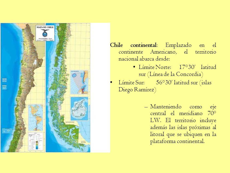 Chile continental: Emplazado en el continente Americano, el territorio nacional abarca desde: Límite Norte: 17°30 latitud sur (Línea de la Concordia) Límite Sur: 56°30 latitud sur (islas Diego Ramírez) –Manteniendo como eje central el meridiano 70° LW.