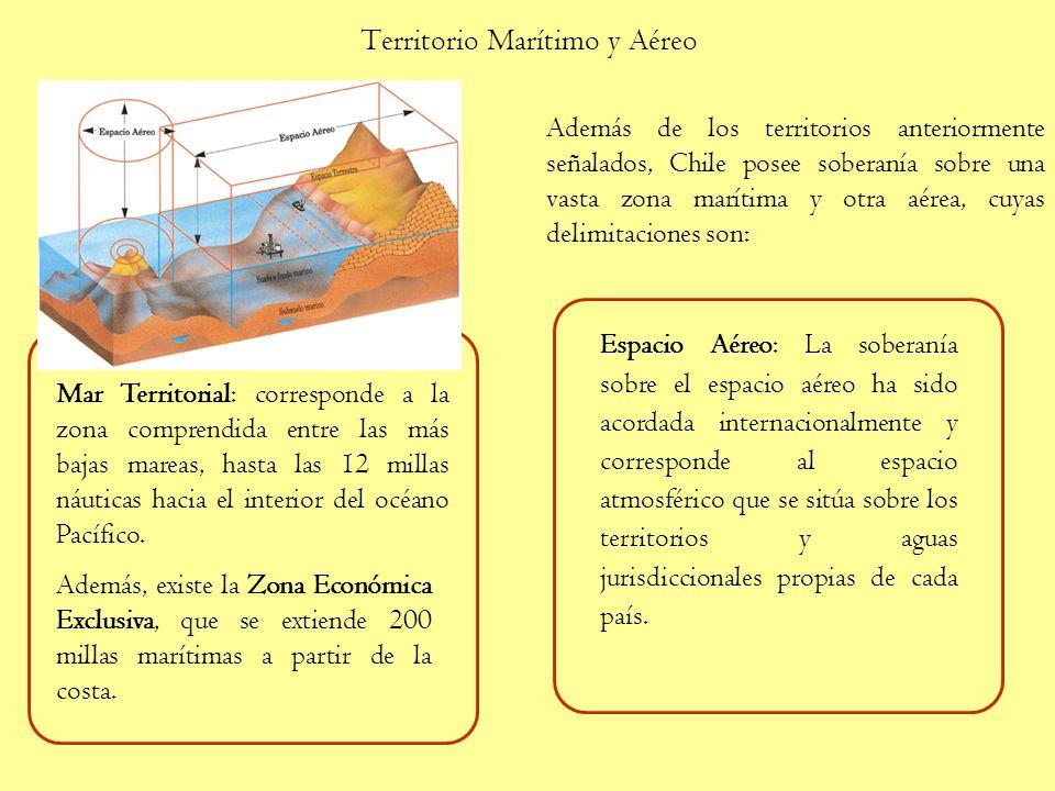 Territorio Marítimo y Aéreo Además de los territorios anteriormente señalados, Chile posee soberanía sobre una vasta zona marítima y otra aérea, cuyas delimitaciones son: Mar Territorial: corresponde a la zona comprendida entre las más bajas mareas, hasta las 12 millas náuticas hacia el interior del océano Pacífico.