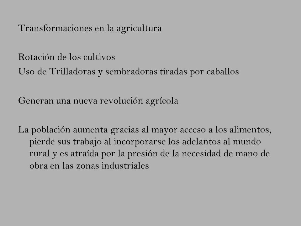 Transformaciones en la agricultura Rotación de los cultivos Uso de Trilladoras y sembradoras tiradas por caballos Generan una nueva revolución agrícol