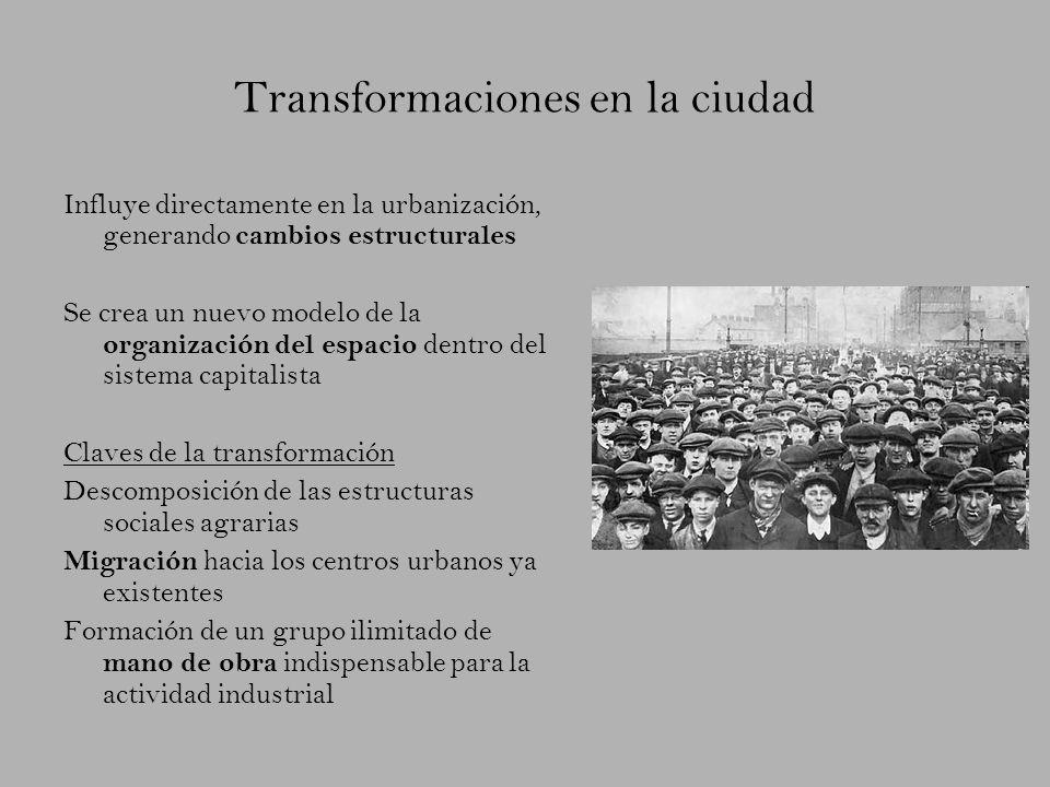 Transformaciones en la ciudad Influye directamente en la urbanización, generando cambios estructurales Se crea un nuevo modelo de la organización del