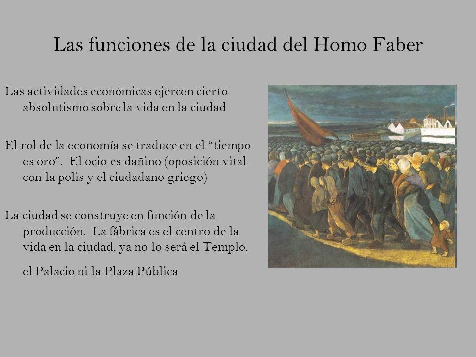 Las funciones de la ciudad del Homo Faber Las actividades económicas ejercen cierto absolutismo sobre la vida en la ciudad El rol de la economía se tr
