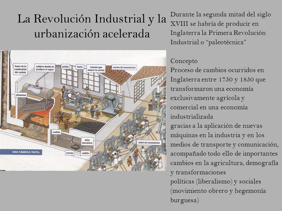 La Revolución Industrial y la urbanización acelerada Durante la segunda mitad del siglo XVIII se habría de producir en Inglaterra la Primera Revolució