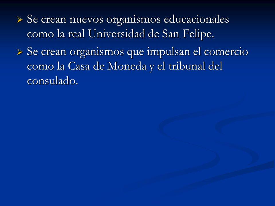 Se crean nuevos organismos educacionales como la real Universidad de San Felipe. Se crean nuevos organismos educacionales como la real Universidad de