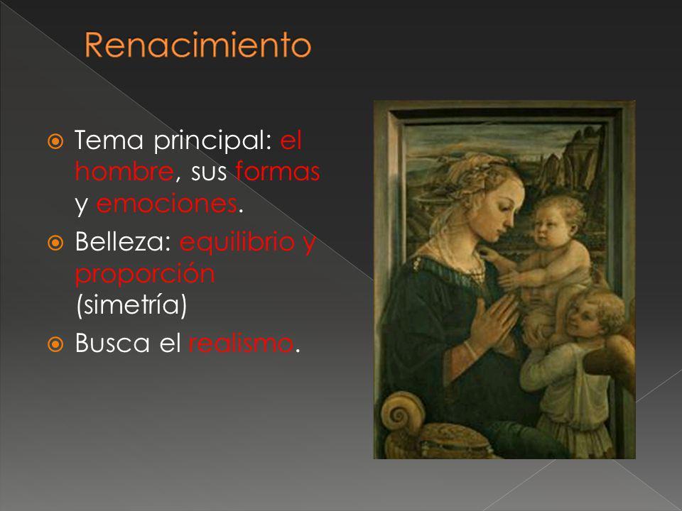 Tema principal: el hombre, sus formas y emociones. Belleza: equilibrio y proporción (simetría) Busca el realismo.