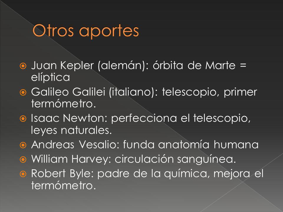 Juan Kepler (alemán): órbita de Marte = elíptica Galileo Galilei (italiano): telescopio, primer termómetro. Isaac Newton: perfecciona el telescopio, l