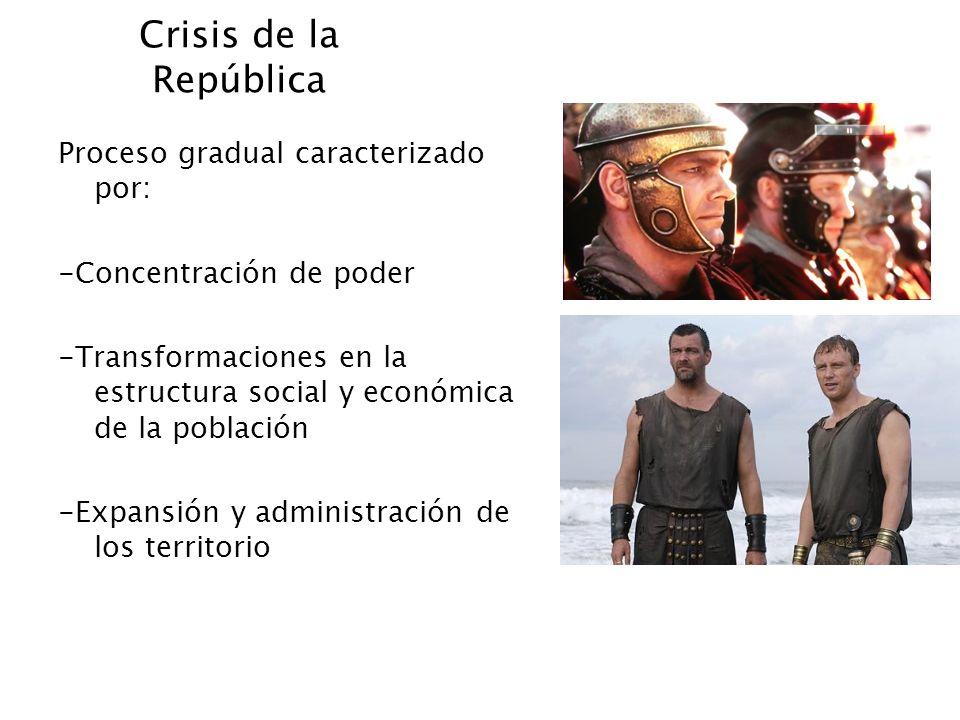 Crisis de la República Proceso gradual caracterizado por: -Concentración de poder -Transformaciones en la estructura social y económica de la població