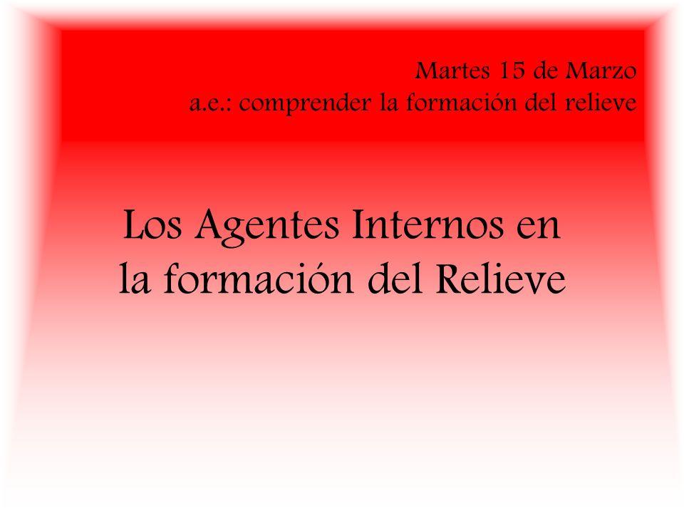 Martes 15 de Marzo a.e.: comprender la formación del relieve Los Agentes Internos en la formación del Relieve