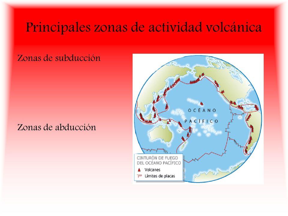 Principales zonas de actividad volcánica Zonas de subducción Zonas de abducción