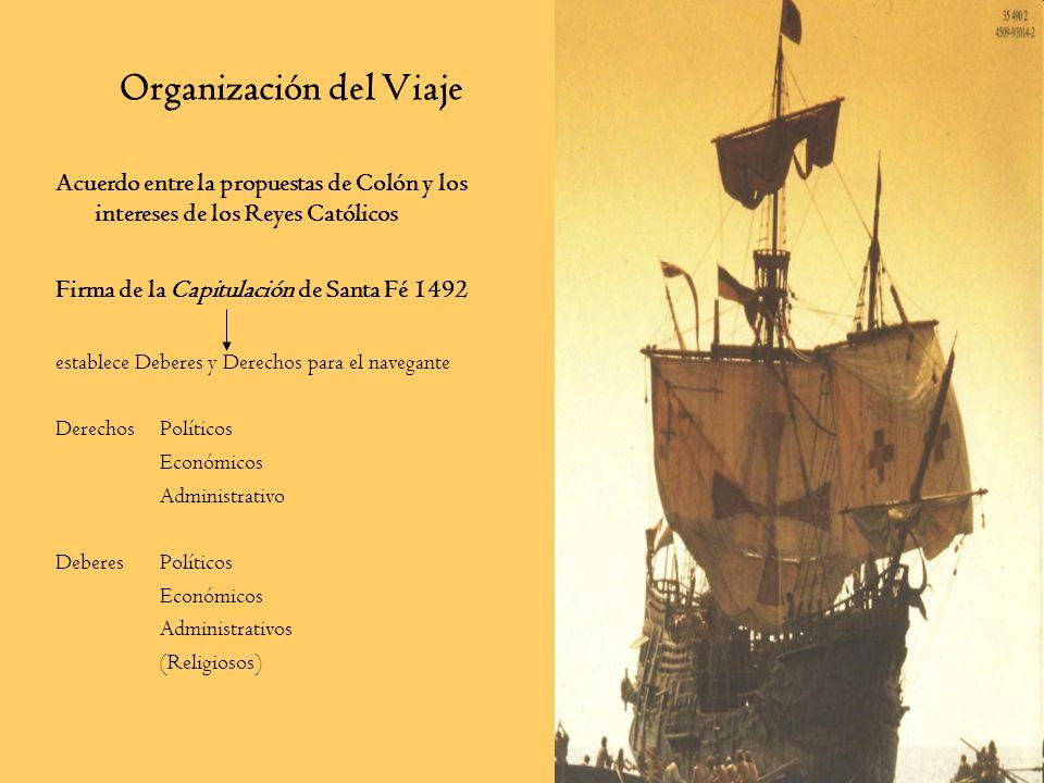 Organización del Viaje Acuerdo entre la propuestas de Colón y los intereses de los Reyes Católicos Firma de la Capitulación de Santa Fé 1492 establece