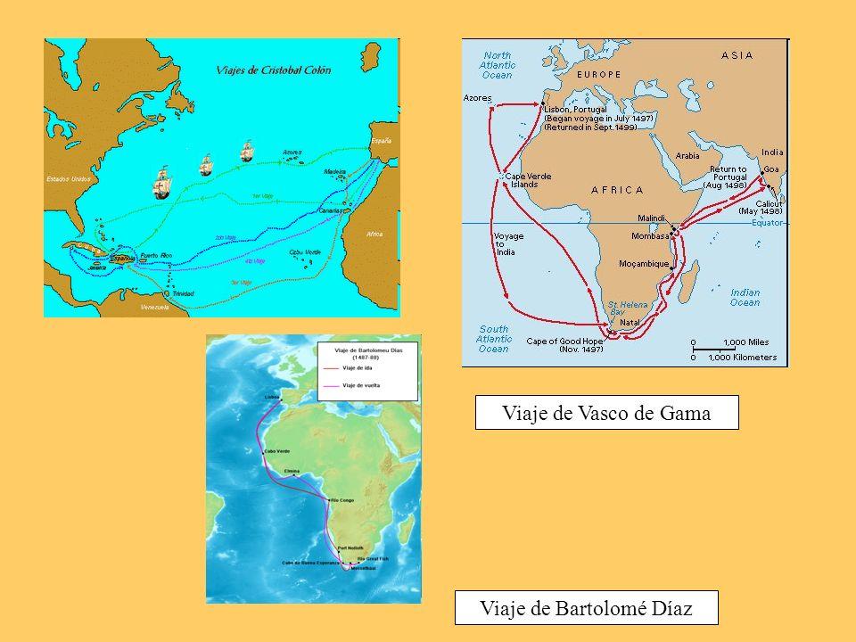 Viaje de Bartolomé Díaz Viaje de Vasco de Gama