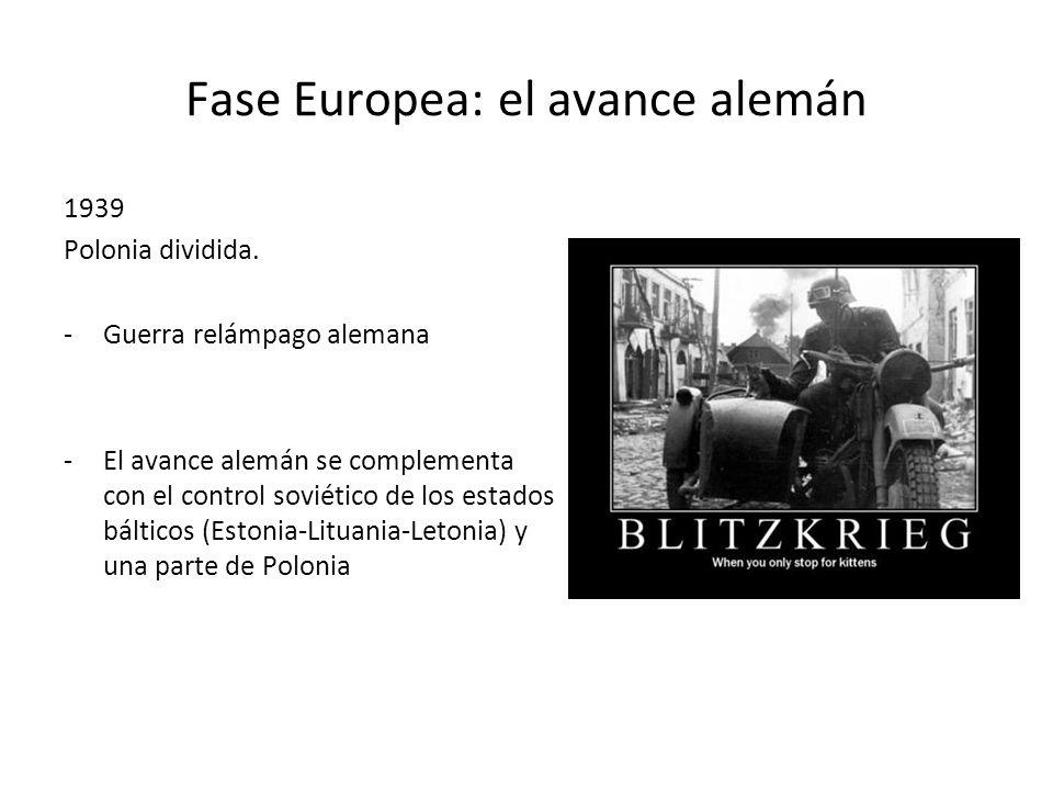 Fase Europea: el avance alemán 1939 Polonia dividida. -Guerra relámpago alemana -El avance alemán se complementa con el control soviético de los estad