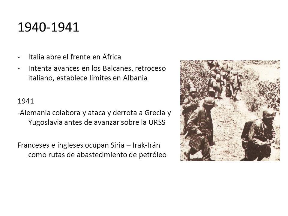 1940-1941 -Italia abre el frente en África -Intenta avances en los Balcanes, retroceso italiano, establece límites en Albania 1941 -Alemania colabora