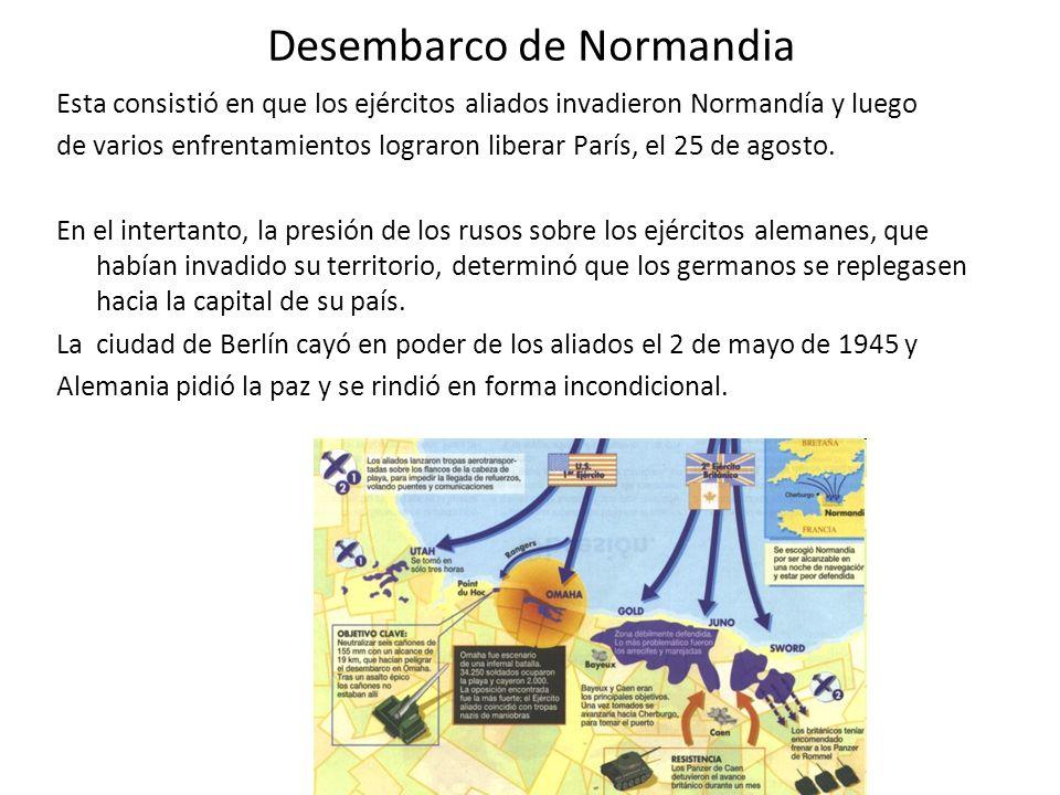 Desembarco de Normandia Esta consistió en que los ejércitos aliados invadieron Normandía y luego de varios enfrentamientos lograron liberar París, el