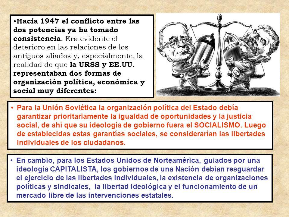 Para la Unión Soviética la organización política del Estado debía garantizar prioritariamente la igualdad de oportunidades y la justicia social, de ah