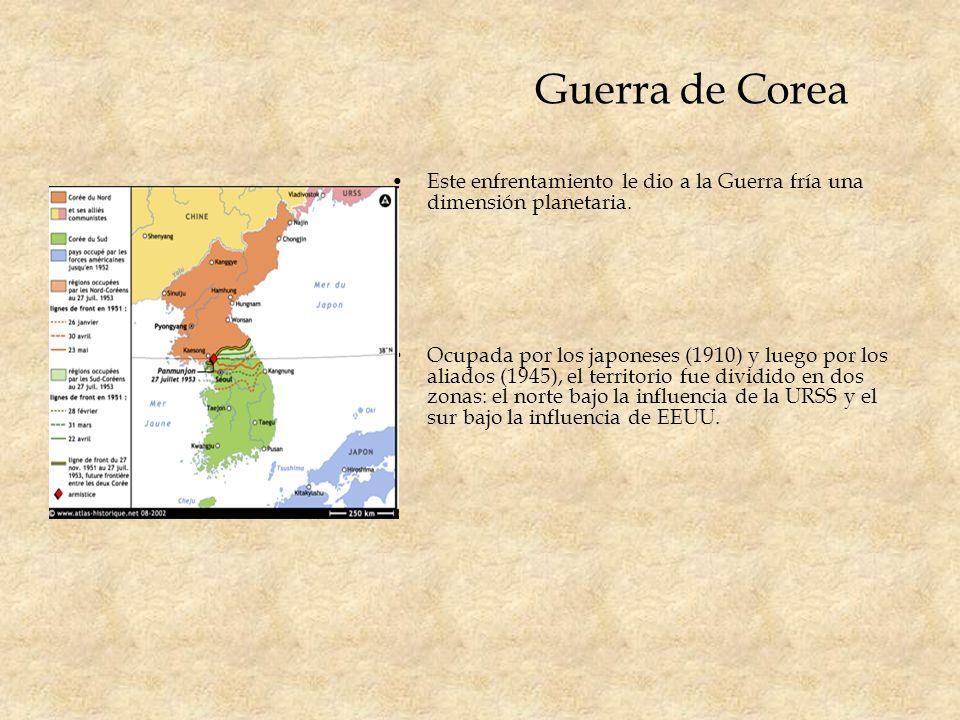 Guerra de Corea Este enfrentamiento le dio a la Guerra fría una dimensión planetaria. Ocupada por los japoneses (1910) y luego por los aliados (1945),