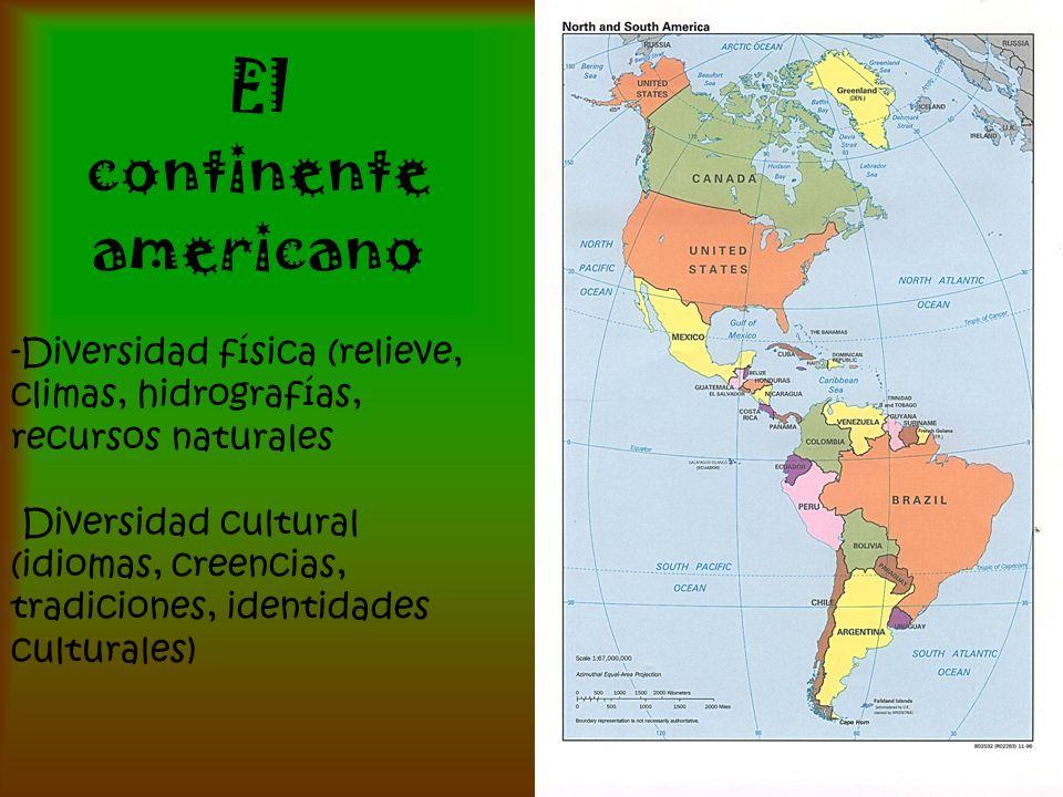El continente americano -Diversidad física (relieve, climas, hidrografías, recursos naturales Diversidad cultural (idiomas, creencias, tradiciones, id