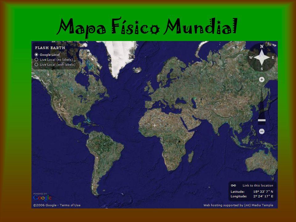 Mapas Físicos Nos permiten apreciar las características del relieve de un lugar determinado Generalmente utiliza los colores azul-verde-amarillo y café para graficar los diferentes elementos