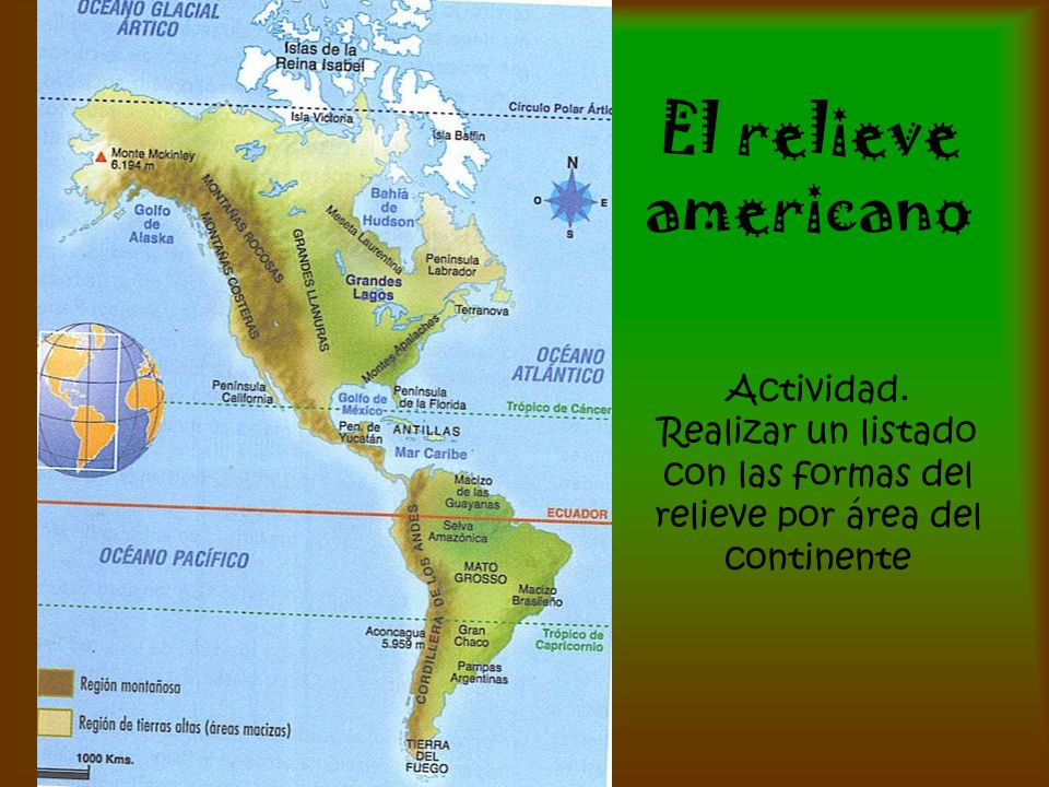 El relieve americano Actividad. Realizar un listado con las formas del relieve por área del continente