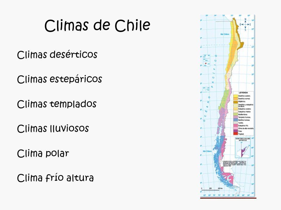 Climas de Chile Climas desérticos Climas estepáricos Climas templados Climas lluviosos Clima polar Clima frío altura