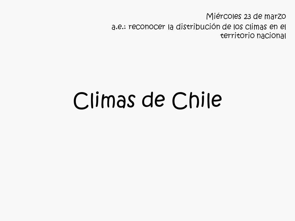 Climas de Chile Miércoles 23 de marzo a.e.: reconocer la distribución de los climas en el territorio nacional