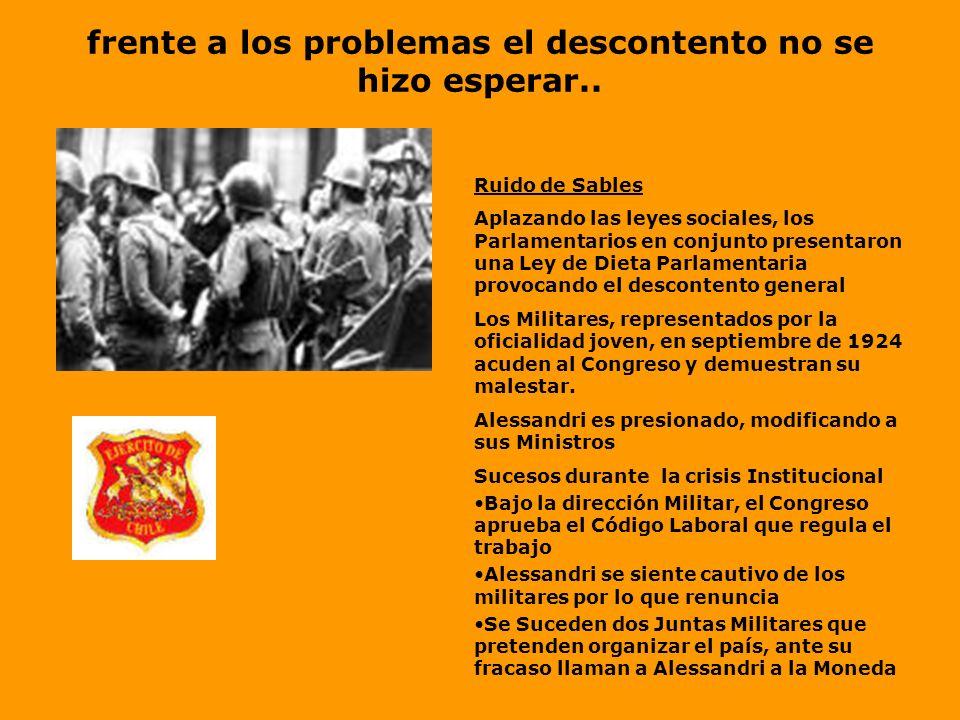 Después de una reñida Batalla Electoral... El ganador es.. Arturo Alessandri Características de su Gobierno A pesar de los avances y mejoras en la sit