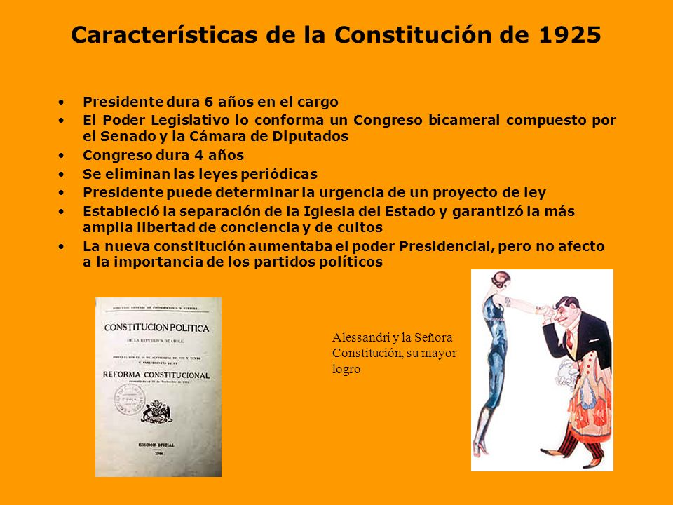 Constitución de 1925 Antes de revisar las características de la Constitución de 1925 debemos recordar el concepto de Constitución Constitución: Es la