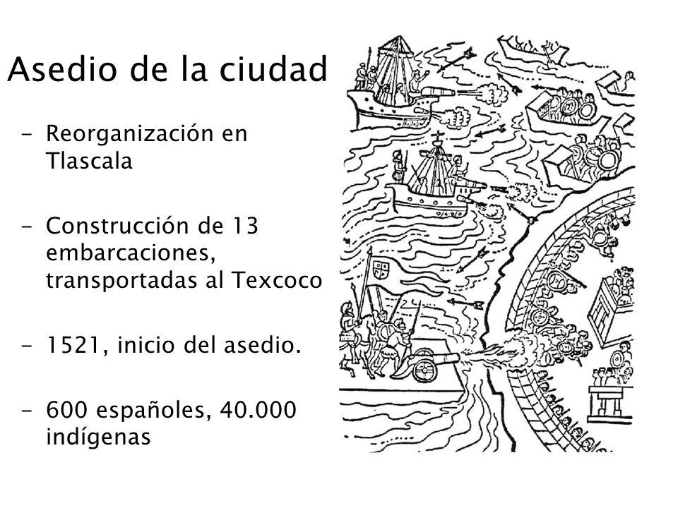 Asedio de la ciudad -Reorganización en Tlascala -Construcción de 13 embarcaciones, transportadas al Texcoco -1521, inicio del asedio. -600 españoles,