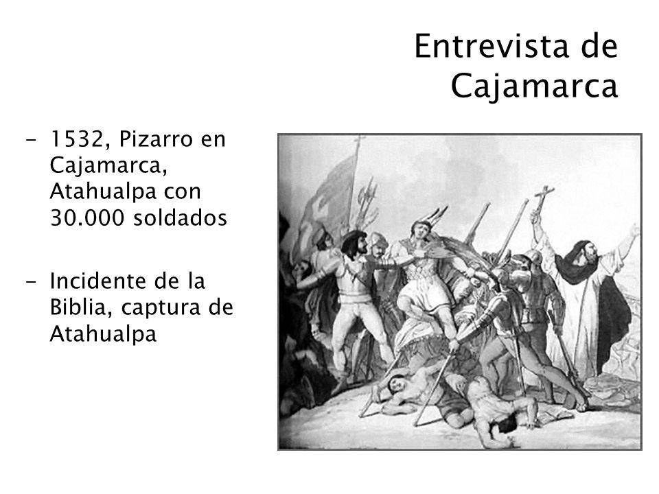Entrevista de Cajamarca -1532, Pizarro en Cajamarca, Atahualpa con 30.000 soldados -Incidente de la Biblia, captura de Atahualpa