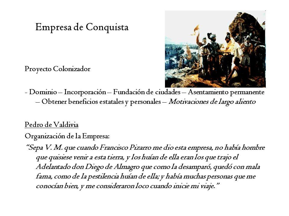 Empresa de Conquista Proyecto Colonizador - Dominio – Incorporación – Fundación de ciudades – Asentamiento permanente – Obtener beneficios estatales y