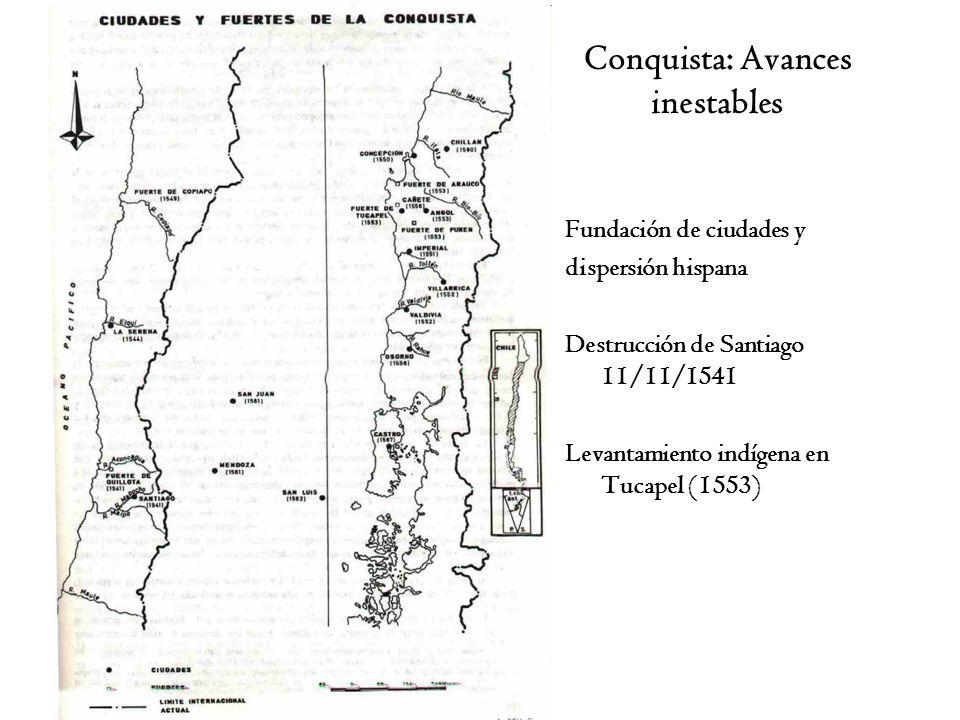 Conquista: Avances inestables Fundación de ciudades y dispersión hispana Destrucción de Santiago 11/11/1541 Levantamiento indígena en Tucapel (1553)