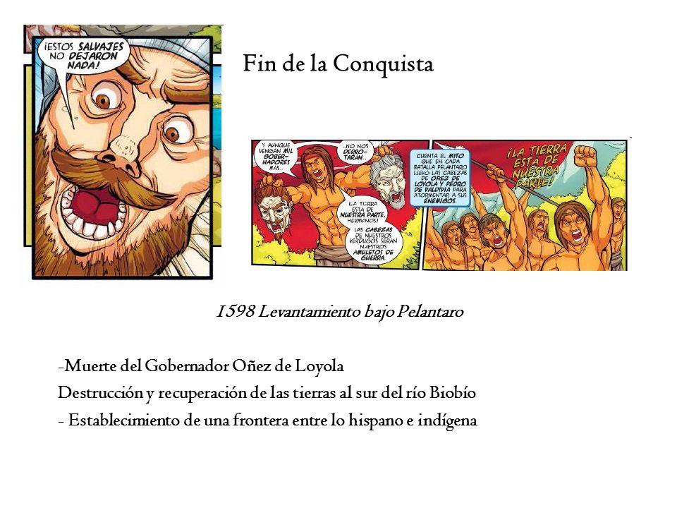 Fin de la Conquista 1598 Levantamiento bajo Pelantaro -Muerte del Gobernador Oñez de Loyola Destrucción y recuperación de las tierras al sur del río B