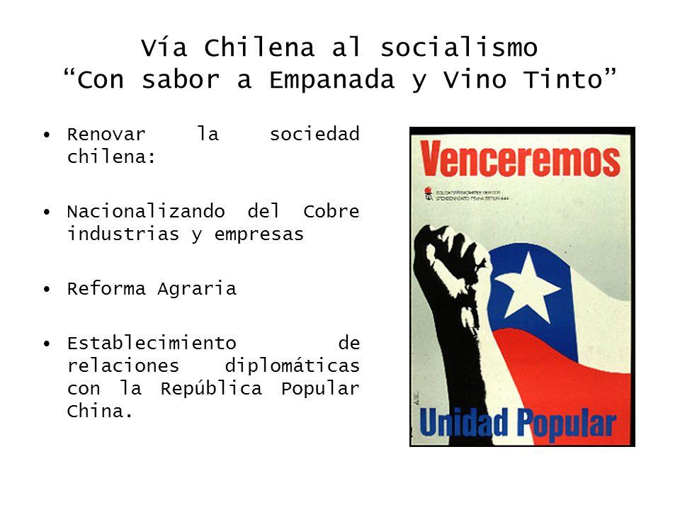 Vía Chilena al socialismo Con sabor a Empanada y Vino Tinto Renovar la sociedad chilena: Nacionalizando del Cobre industrias y empresas Reforma Agrari