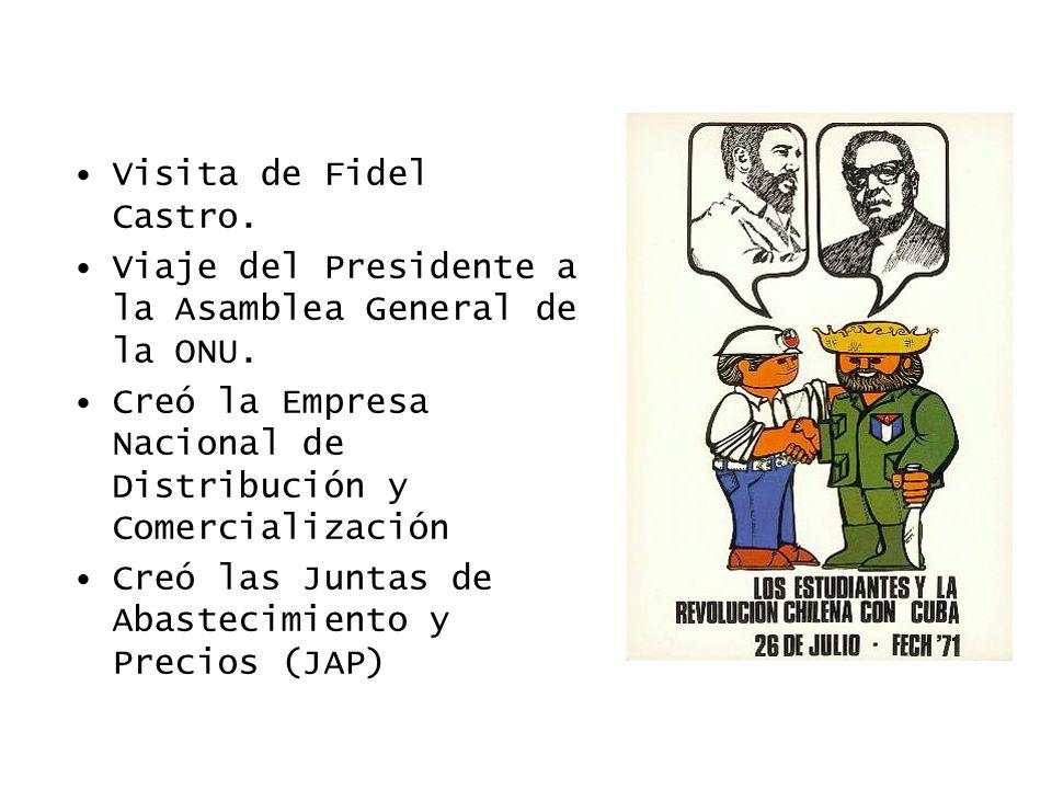 Visita de Fidel Castro. Viaje del Presidente a la Asamblea General de la ONU. Creó la Empresa Nacional de Distribución y Comercialización Creó las Jun