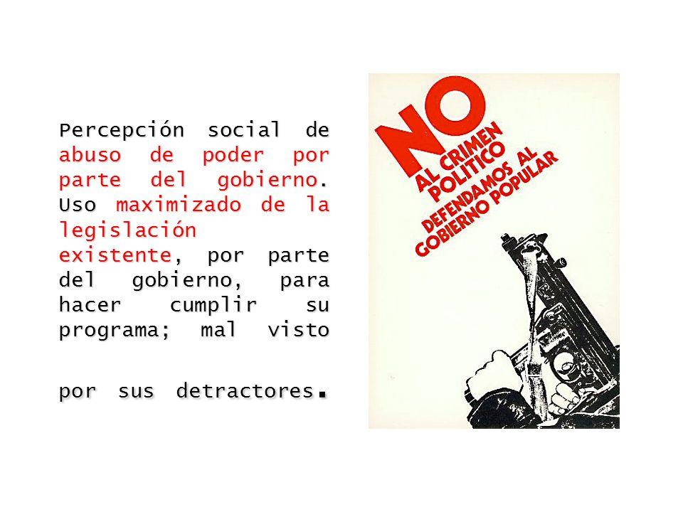Percepción social de abuso de poder por parte del gobierno. Uso maximizado de la legislación existente, por parte del gobierno, para hacer cumplir su
