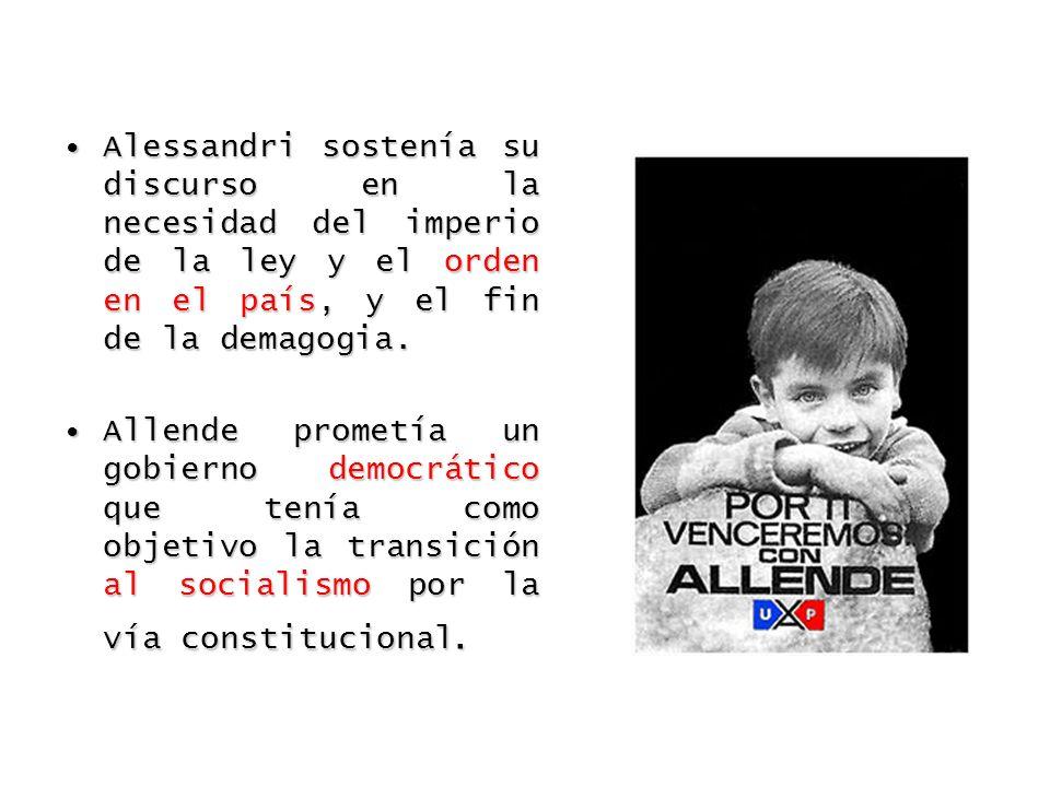 Elecciones 1958Elecciones 1964Elecciones 1970 Salvador Allende 28.9Salvador Allende 38.93Jorge Alessandri 34.9 Eduardo Frei20.7Julio Durán4.99Radomiro Tomic 27.8 Luis Bossay15.6Eduardo Frei Montalva 56.09Salvador Allende 36.2 Antonio Zamorano 3.3 Jorge Alessandri 31.6 Tensiones del Clima: Asesinato del Comandante en Jefe del Ejército General René Schneider, a manos de una facción ultraderechista que buscó crear un clima de inestabilidad.