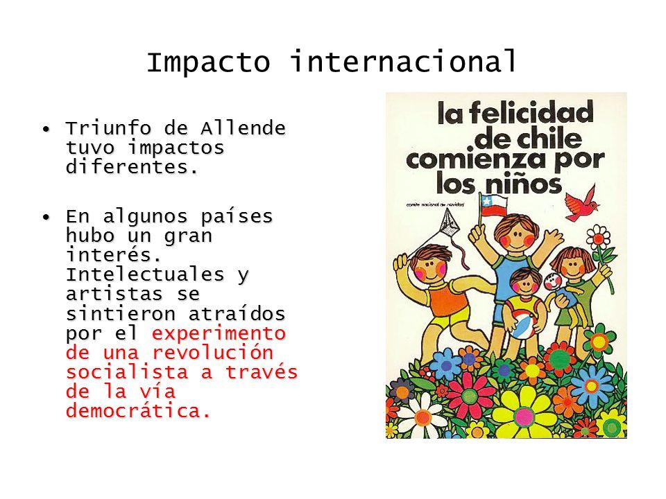 Impacto internacional Triunfo de Allende tuvo impactos diferentes.Triunfo de Allende tuvo impactos diferentes. En algunos países hubo un gran interés.