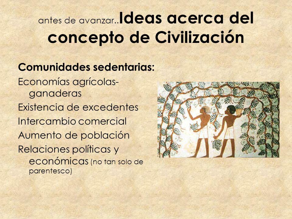 antes de avanzar.. Ideas acerca del concepto de Civilización Comunidades sedentarias: Economías agrícolas- ganaderas Existencia de excedentes Intercam
