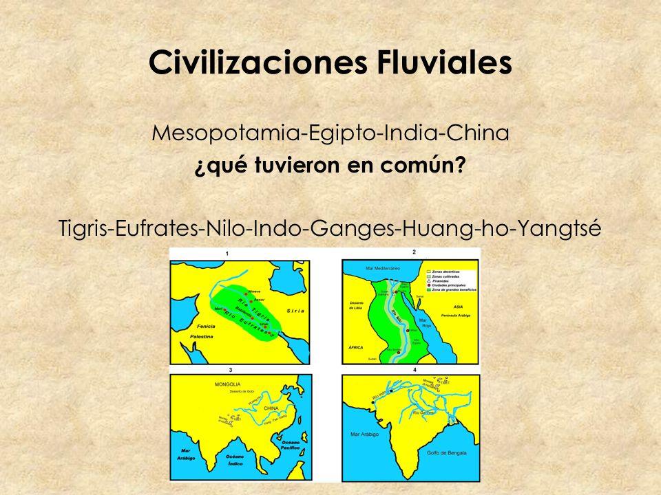 Civilizaciones Fluviales Mesopotamia-Egipto-India-China ¿qué tuvieron en común? Tigris-Eufrates-Nilo-Indo-Ganges-Huang-ho-Yangtsé